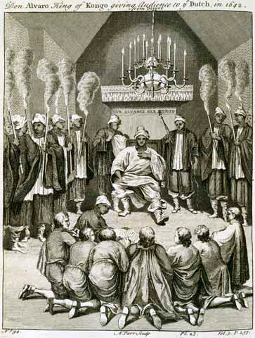 afrika Don Alvaro King of Kongo giving Audience to ye Dutch in 1642