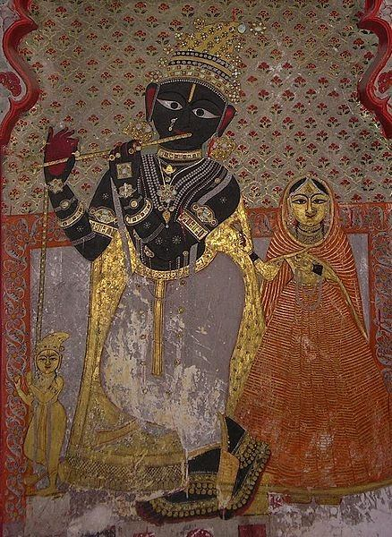 krishna 14th century fresco udaipur india
